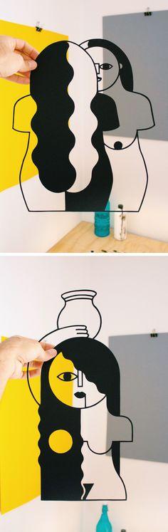 Paper Cutouts by José Antonio Roda | paper cut illustration | cut paper illustration | Cubist art