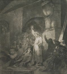Jan Piotr NORBLIN de la GOURDAINE (1745-1830)  Wskrzeszenie Łazarza akwaforta, papier,  17,8 x 16,4 cm (w świetle oprawy)