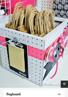 Pegboard Organization - Clean and Scentsible This is a great example of how to use pegboard to make a self-contained project kit. This could work well if you had a business that needed packaging/shipping. Craft Fair Displays, Display Ideas, Booth Ideas, Craft Fair Booths, Display Boxes, Pegboard Organization, Organizing Ideas, Pegboard Display, Office Organization