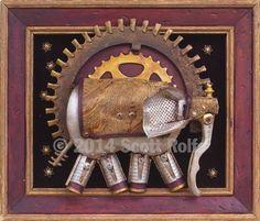Processional Elephant -  Art Block Print by Scottius on Etsy https://www.etsy.com/listing/185640849/processional-elephant-art-block-print