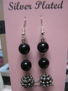 SILVER PLATED EARRINGS WITH BLACK BEADS. FREE SHIPPING