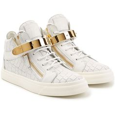 Giuseppe Zanotti Embossed Leather Hip-Tops (27,300 PHP) ❤ liked on Polyvore featuring shoes, sneakers, white, zip sneakers, zipper shoes, zipper sneakers, white leather shoes and round cap