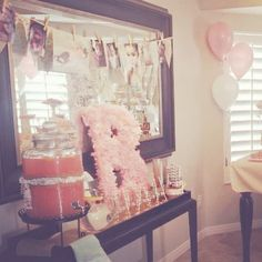 Vintage Shabby Chic First Birthday Party: drink station
