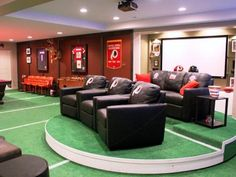There are certain man cave essentials to have. We as men need entertainment, food and of course a TV. That is not everything man caves need. Here is our list of 10 essential items you need to create the ultimate man cave. Man Cave Diy, Man Cave Home Bar, Home Theater Setup, Home Theater Design, Theater Rooms, Cinema Room, Movie Theater, Sports Man Cave, Man Cave Basement