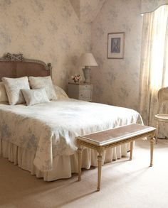 Bed, bench, chair, linens, valance