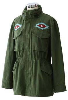 Aztec Embroidery Military Parka Coat in Olive - Outers - Retro, Indie and Unique Fashion