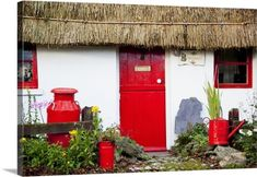 Traditional Irish Cottage With A Red Door And Red Decorative Items Currabinny County Cork Ireland Canvas Art - Peter Zoeller Design Pics x Jig Saw, Cottage Door, Red Cottage, Irish Cottage Decor, Farm Cottage, Romantic Cottage, Cottage Homes, County Cork Ireland, Galway Ireland