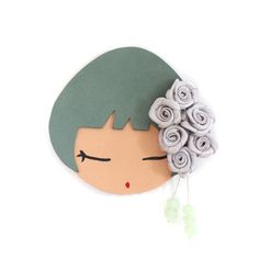 broche flores verde