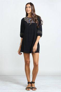 THE SAVANNAH EMBROIDERED DRESS-Black