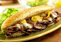 Dripping Roast Beef Sandwiches with Melted Provolone - Recipe from Campbell's.