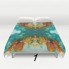 Turquoise and Gold Duvet Cover, Teal Orange Comforter Cover. Beautiful and colorful custom made Duvet Cover. Two design layouts are available: