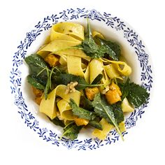 Pappardelle with Butternut Squash, Walnuts, and Baby Kale A brown butter sauce complements toasted walnuts, roasted butternut squash, and baby kale in a rich pasta dish that perfectly captures the flavors of fall.