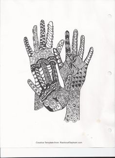 My version of the zentangle hands from the Rainbow Elephant