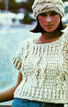 DIY Crocheted Cable-Work Pullover and Hat PDF Crochet Pattern by MomentsInTwine on Etsy