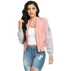 Two Tone Lightweight Bomber Jacket in Pink and Gray (975 CZK) ❤ liked on Polyvore featuring outerwear, jackets, bomber jacket, zipper jacket, blouson jacket, pink jacket and grey bomber jacket