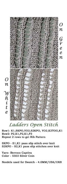 Ladders knit stitch swatch Ladder Stitch, Ladders, Slip Stitch, Silver Coins, Swatch, Knitting Patterns, Fabric, Color, Stairs
