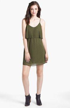 dee elle Cross Print Ruffle V-Back Dress (Juniors) | Nordstrom