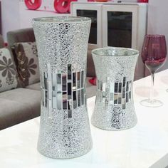 Mosaics Using Glass On Glass | Silver Mirrored Mosaic Glass Vase - Buy Mosaic Glass Vase,Glass Vase ...