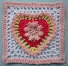 Grandma's heart square - the Ravelry project pages show all the variations done by individual crocheters -- pretty!   . . . .   ღTrish W ~ http://www.pinterest.com/trishw/  . . . .   #crochet #granny_square