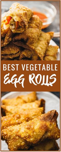 Vegetable Egg Rolls Recipe - Savory Tooth Best vegetable egg rolls - These vegetable egg rolls are ridiculously crunchy and taste better than any Chinese takeout version. They make for a popular vegetarian appetizer, and they're easy to assemble and cook. Vegetarian Chinese Recipes, Authentic Chinese Recipes, Easy Chinese Recipes, Vegetarian Appetizers, Appetizer Recipes, Vegetarian Egg Rolls, Meat Appetizers, Chinese Desserts, Vegetarian