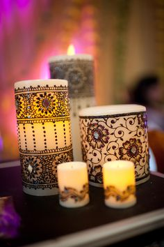 I really want to try to make this! Mendhi Candles with jewels!
