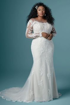 """Maggie Sottero - CHEVELLE LYNETTE Plus Size Sheath Wedding Dress. """"Once upon a time"""" starts with many things, but your """"happily ever after"""" may just begin with this off-the-shoulder sheath wedding dress in rosy lace motifs and delicate illusion. Cute Wedding Dress, Wedding Dress Styles, Dream Wedding Dresses, Weding Dresses, Lace Wedding, Crystal Wedding, Curvy Wedding Dresses, Floral Wedding, Wedding Colors"""