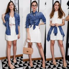 vestido de alcinha e camisa jeans em 3 maneiras de usar - @mayararimolo Stylish Summer Outfits, New Outfits, Casual Outfits, Spring Outfits, Fashion Outfits, Shirt Over Dress, Look Camisa Jeans, Denim Fashion, Girl Fashion
