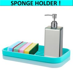Advantage&Benefits! – Nivafeel Kitchen Sink Organization, Sink Organizer, Sponge Holder, Soap Dispenser, Benefit, Tray, Cleaning, Turquoise, Soap Dispenser Pump