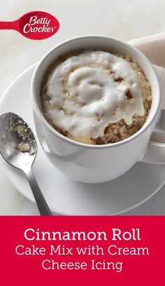 Betty Crocker™ Mug Treats are ready in a few, just for you! These single serve treats are made in the microwave for an anytime indulgence that's as easy as it is delicious. This Cinnamon Roll Cake with Cream Cheese Icing is the perfect sweet treat for one! All you need to do is make it, top it and devour it!