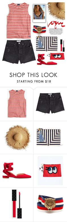 """STRIPES"" by tiziana-melera ❤ liked on Polyvore featuring Saint James, Frame, Minelli, Clare V., Gucci, Summer, stripes and trend"