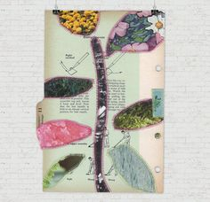 Living Things Five - paper quilt / sewn collage on vintage binder divider