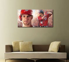 BRYCE HARPER Washington Nationals baseball MLB--2015 TOP best Art oil painting-100% hand painted 20x40 inches-free shipping cost