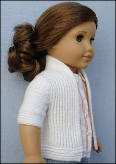 "Amelie Open-Front Cardigan - PDF Knitting Pattern For 18"" American Girl Dolls. #doll clothes # 18 inch doll #AG #American Girl #Gotz doll #Australian Girl #PDF knitting pattern #patterns to knit #open-front sweater #cardigan #crafts #Ravelry #Etsy"