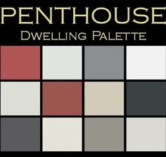 """Color in Space """"Penthouse"""" Palette™. Each palette consists of 12 Benjamin Moore® paint colors in 4"""" swatches and no colors are repeated. The intentional selection of the twelve colors ensures that they are energetically balanced and will create the feeling of the dwelling for which it is named. One color could work as your sofa, another as the rug, and another as a dominant color in a piece of art, kitchen/bath tile. The 12 colors complement each other, create flow, continuity."""