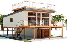 Home Plan Modern House Plan to Modern Family. Mini House Plans, Stilt House Plans, Small House Floor Plans, House On Stilts, Coastal House Plans, Beach House Plans, Contemporary House Plans, Modern House Plans, Small Beach Houses