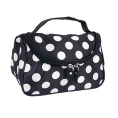 Black Zipper Cosmetic Bag Toiletry Bag Make-up Bag Hand Case Bag with Dot Patterns