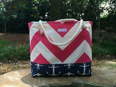Pink Chevron Beach Bag Large Tote Anchor by JerseyPeachDesigns, $35.00