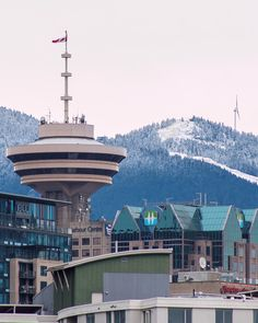 """Fresh POW  Wax 'em up!!! Vancouver is on the lookout for the ski season to start at our local mountains. Looking up from the False Creek Seawall past the @VancouverLookout at @GrouseMountain which will be """"Opening Soon"""". Captured in Vancouver British Columbia Canada  November 18 2016"""