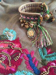 "Bohemian luxury mixed media charm bracelet ""Alicya"" hand sewed toho beads on leather, ribbons, Murano glass beads, tassels, gemstone-tigers eye, yellow jasper."