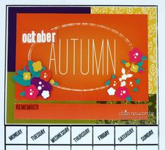 Sarah Hurley design papers from 'A few of my favourite things' kit club used to create my October calendar page
