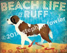 487b0ee3e254 Beach life is Ruff St Bernard saint dog by geministudio on Etsy Life Is  Ruff