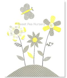 Nursery Art Print Yellow and Gray Nursery by SweetPeaNurseryArt, $15.00