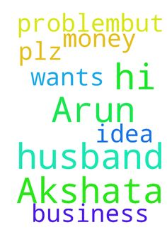 Hi, it's Akshata A G, my husband   name is Arun .he - Hi, its Akshata A G, my husband name is Arun .he have money problem,but he wants to do some business, but he cant get any idea, so plz pray for that. Posted at: https://prayerrequest.com/t/Lh6 #pray #prayer #request #prayerrequest