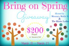 Enter for a chance to win $200 cash.  #giveaway #springintocash #contest