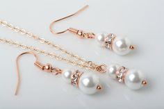 Set of 2 Bridesmaid jewelry set Rose Gold and by CharmanteBijoux