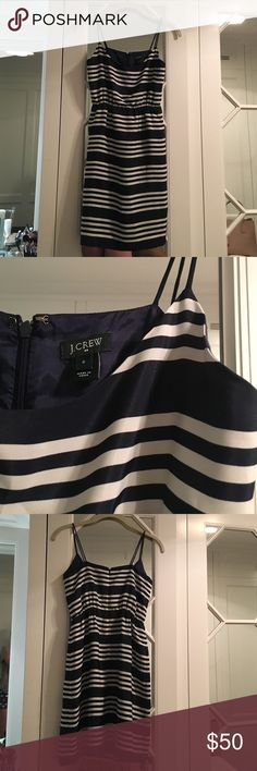 Navy and Off-White Stripped J. Crew Dress Navy and White Stripped J. Crew Dress, Prefect Condition J. Crew Dresses Mini
