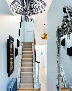Light blue modern entryway with cool lighting Entryway Lighting, Rustic Lighting, Cool Lighting, Lighting Ideas, Rustic Light Fixtures, Modern Entryway, Built In Bookcase, Hallway Decorating, Decorating Ideas