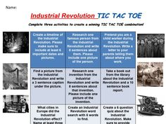 NO prep - Industrial Revolution Tic Tac Toe Great for portfolio work!