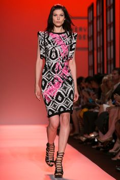 A look from the Hérve Léger By Max Azria Spring 2015 RTW collection.