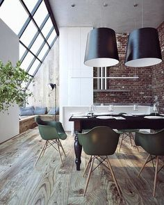 dining space - exposed brick walls, dark timber table with turned legs paired with Eames chairs Style At Home, Interior Exterior, Interior Architecture, Luxury Home Decor, Luxury Homes, Estilo Industrial Chic, Decoration Bedroom, Exposed Brick Walls, Ideas Hogar